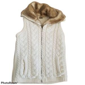 Eivissa Cable Knit Faux Fur Reversible Zip Up Vest